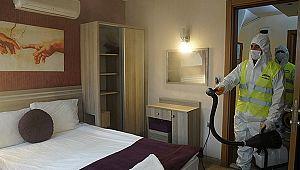 Otel ve pansiyonlar dezenfekte edildi