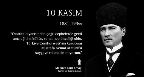 Bakan Ersoy'dan 10 Kasım mesajı